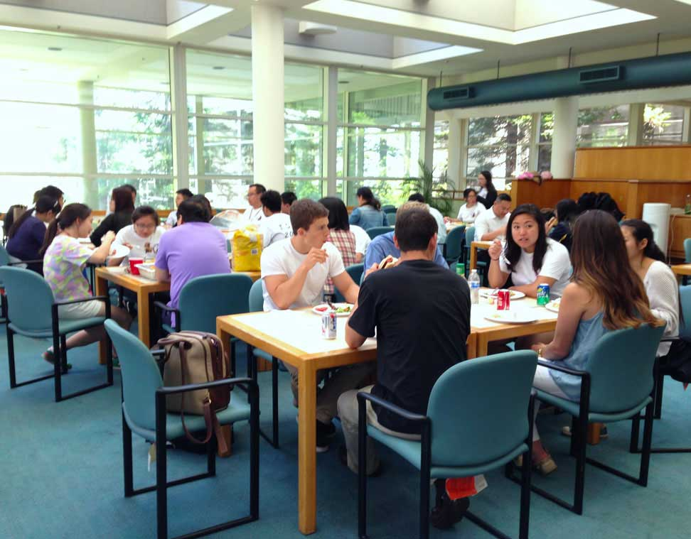 Students lunch and socialize with company leaders on campus